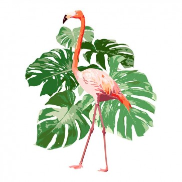 Flamingo - Tropical Leaf