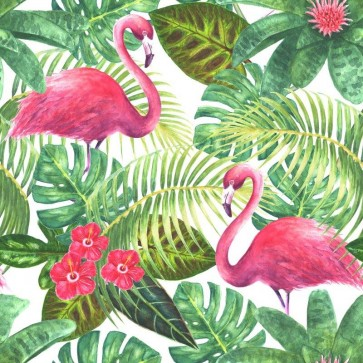 Flamingos - Tropical Leaves