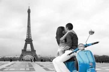 Paris - Eiffel Tower Blue Vespa Travel Romantic