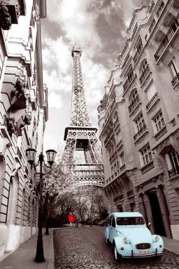 Paris - Red-Girl-Blue-Car
