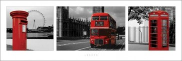 London - (Red Triptych)