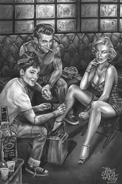 James Danger Harvey - Audrey Hepburn Tattooing Marilyn Monroe And James Dean