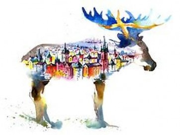 Sweden - The City in the Silouette of moose