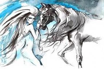 Glamorous Girl Next to Horse