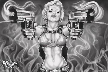 Marilyn with 2 guns