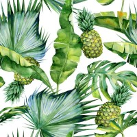 Tropical leaves and pineapples