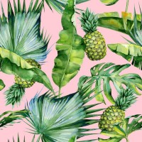 Tropical leaves and pineapples - Pink