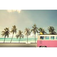 Vintage Car On The Beach With a Surfbord