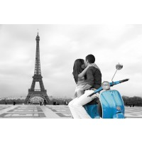 Paris - Eiffel Tower Blue Vespa Travel Romantic