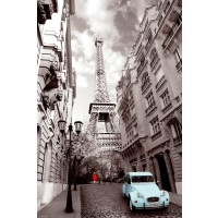 Paris - Red-Girl-Blue-Car