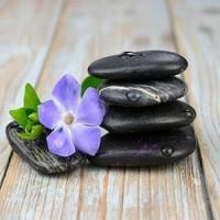 Black Zen Stones With Purple Flower