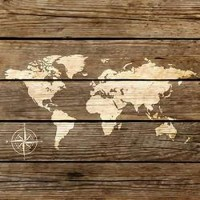 World Map on a Wooden Board
