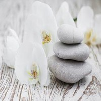 Spa Stones and white Orchids